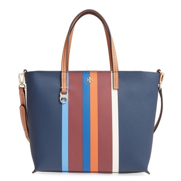 875eb6a393551 Shop Tory Burch Kerrington Small Multi Center Stripe Square Tote Bag ...