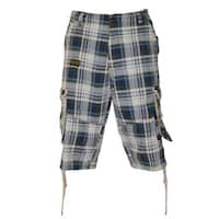 Dinamint Men's Plaid Cotton Cargo Shorts