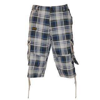 Dinamint Men's Plaid Cotton Cargo Shorts