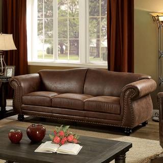 Furniture of America Davids Traditional Nailhead Brown Fabric-like Sofa