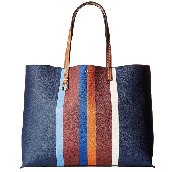 Tory Burch Kerrington Multi Center Stripe Square Tote Bag