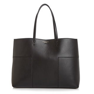 Tory Burch 'Block-T' Black Leather Tote Bag