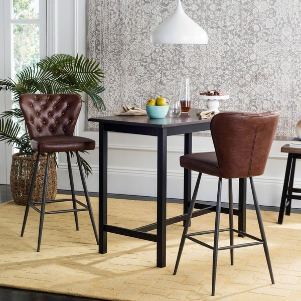 Shop Safavieh 30 Inch Aster Burgundy Bar Stool Set Of 2
