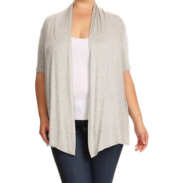 Women's Plus-size Heather Grey Rayon Cardigan