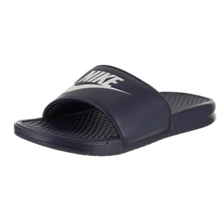 Nike Menu0027s Benassi JDI Blue Synthetic Leather Sandals