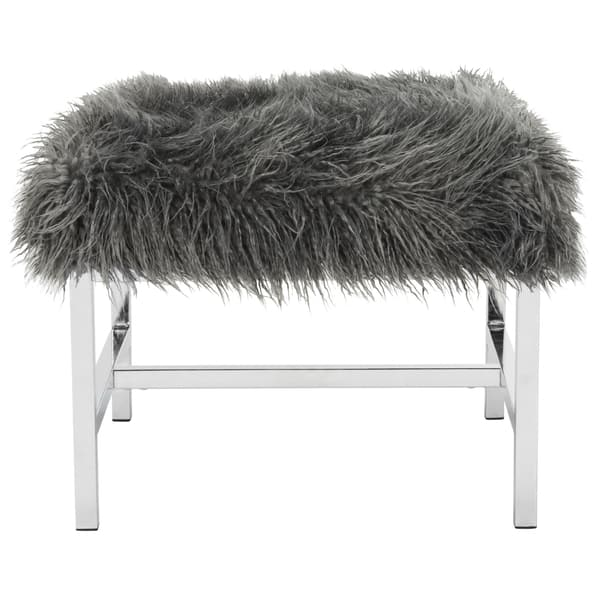 Phenomenal Shop Safavieh Horace Grey Faux Sheepskin Square Bench 21 Pabps2019 Chair Design Images Pabps2019Com