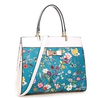 Dasein Flowery Design and Gold Accent Bow Satchel Handbag