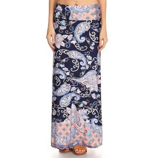 Women's Spandex Paisley Pattern Maxi Skirt