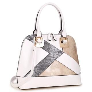 Dasein Round Semi Metallic Patch Design Satchel Handbag