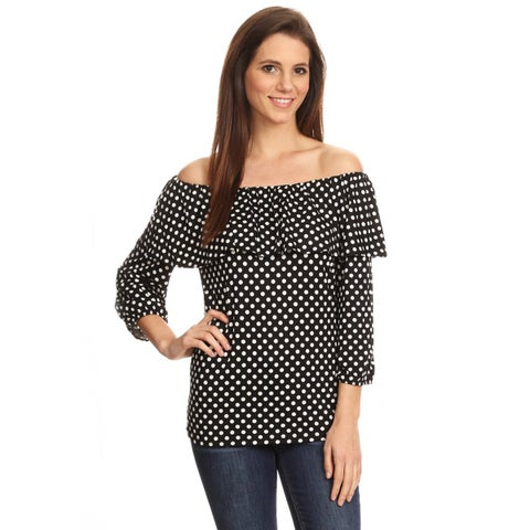 Women's Black Polka Dot Double Layer Flounce Tunic