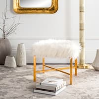Safavieh Horace White Faux Sheepskin X- Square Bench