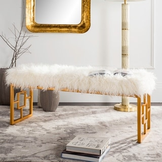 Safavieh Mera White Faux Sheepskin Bench