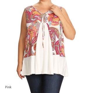 Women's Plus Size Sleeveless Multicolored Paisley Tunic