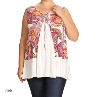 Women's Plus Size Sleeveless Multicolored Paisley Tunic