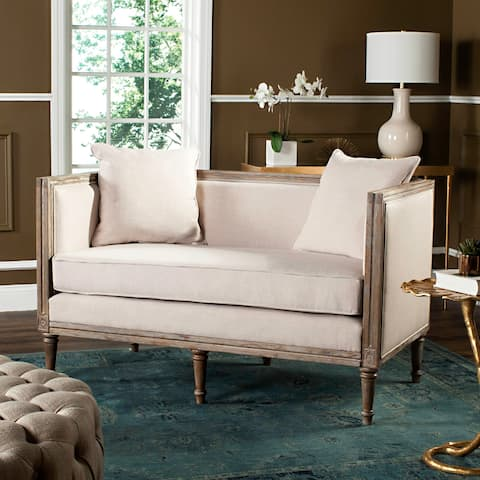 "Safavieh Leandra Beige / Rustic Oak Rustic French Country Settee - 53"" x 28.8"" x 31.5"""