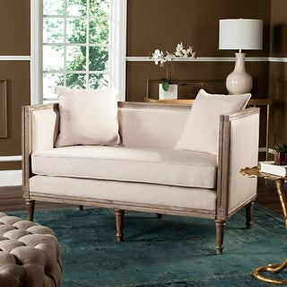 Lovely Safavieh Leandra Beige / Rustic Oak Rustic French Country Settee