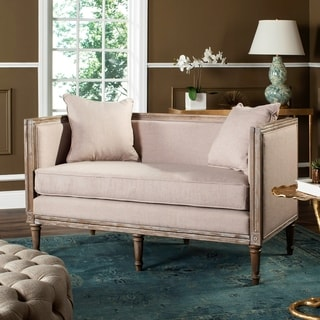 safavieh leandra taupe rustic oak linen french country settee