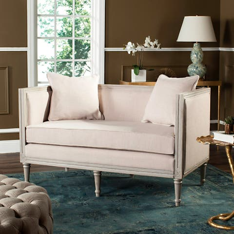 "Safavieh Leandra Beige / Rustic Grey Rustic French Country Settee - 53"" x 28.8"" x 31.5"""