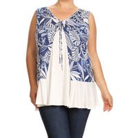 Women's Plus Size Sleeveless Leaf Pattern Tunic