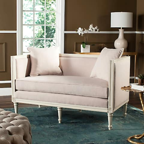 "Safavieh Leandra Beige / Antique Beige Rustic French Country Settee - 53"" x 28.8"" x 31.5"""