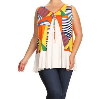 Women's Plus Size Orange Sleeveless Geometric Tunic