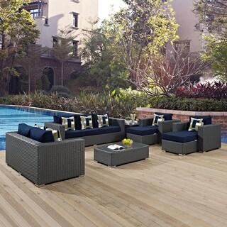 Sojourn 9-piece Outdoor Patio Sunbrella Sectional Set