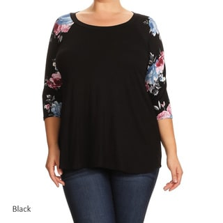 Women's Solid and Floral-sleeve Raglon Plus-size Tunic