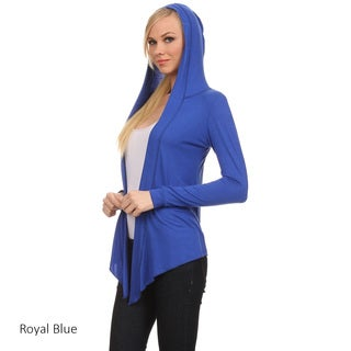 Women's Solid Cardigan with Attached Hoodie