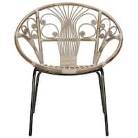 Safavieh Carlson Rattan Grey White Wash Accent Chair