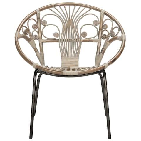 """SAFAVIEH Carlson Rattan Grey White Wash Accent Chair - 29.5"""" x 26.2"""" x 31.1"""""""