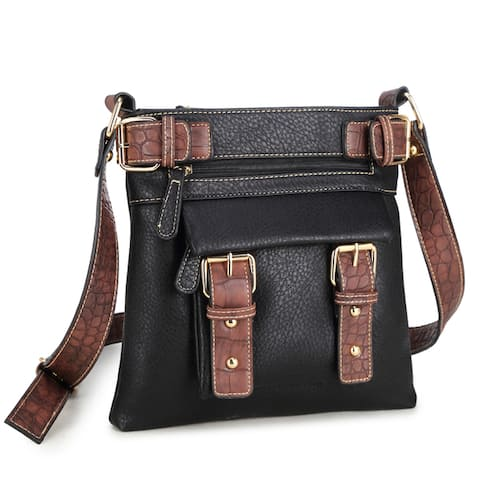 Dasein Soft Faux Leather Decorative Front Belt Messenger Bag with 46-inch Shoulder Strap