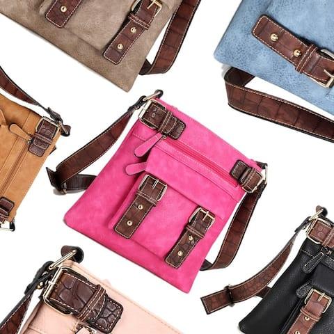 Dasein Soft Faux Leather Decorative Front Belt Messenger Bag with 46-inch Shoulder Strap