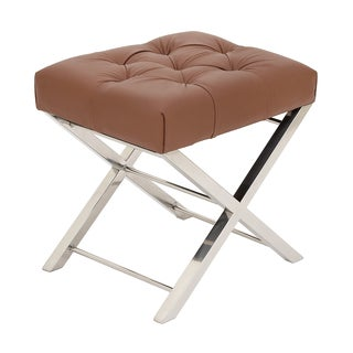 Urban Designs Brown Tufted Leather 21-Inch Accent Stool