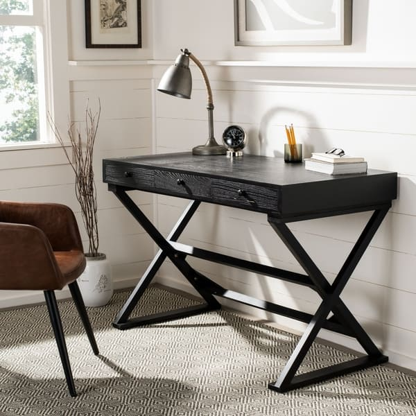 Shop Safavieh Gilbert Weathered Black Desk - On Sale - Overstock