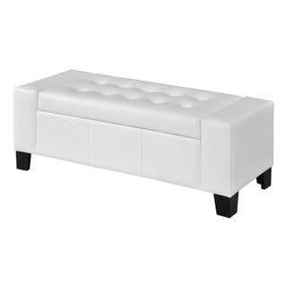 Somette Peekskill White Storage Ottoman Bench
