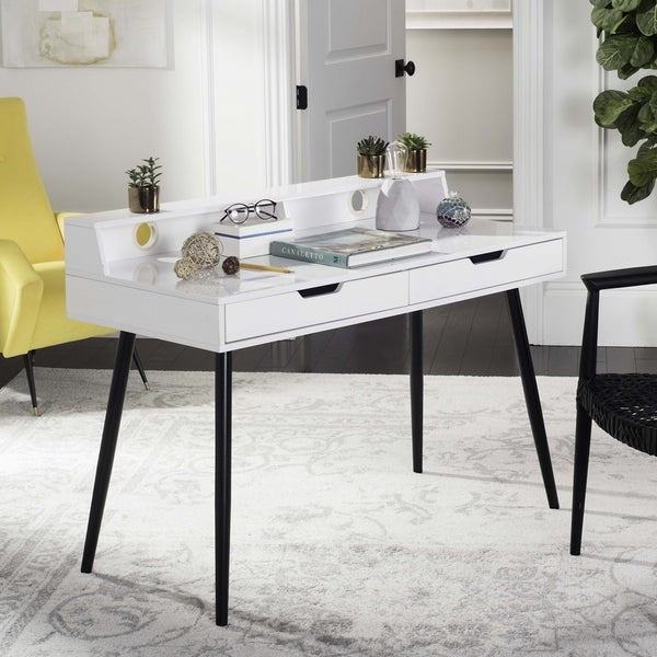 Abbey Coffee Table High Gloss White With 2 Pull Out Drawers: Shop Safavieh Cairo Mid Century Retro White / Black Two