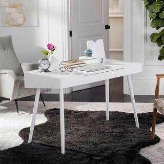 Safavieh Fadri Mid Century Scandinavian White One Drawer Desk