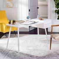 Safavieh Ferli Mid Century Scandinavian White Two Drawer Desk