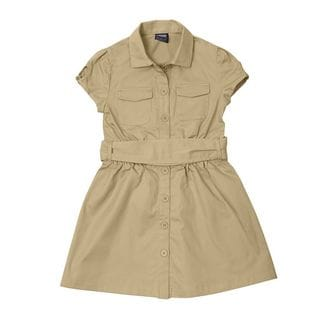 French Toast Girls Canvas Cotton-blend Safari Shirtdress
