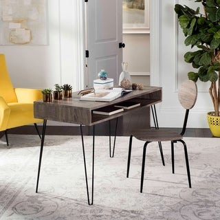 "Safavieh Winta 47"" Retro Grey / Black Writing Desk + Chair"