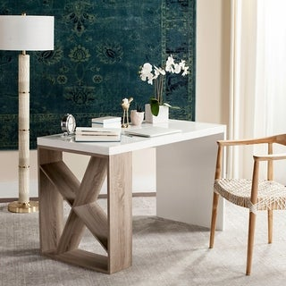 Safavieh Carlene Modern Scandinavian White / Light Grey Side Storage Lacquer Desk
