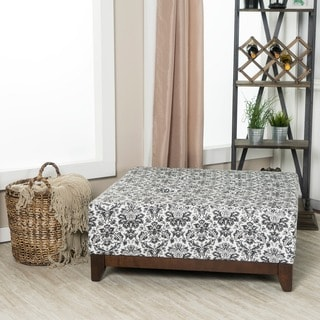 Somette Bixby Large Black and Ivory Printed Ottoman