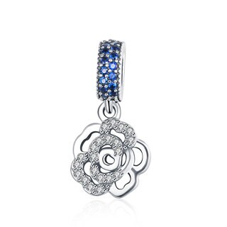 Sterling Silver Austrian Crystals Sapphire Lucky Clover Charm