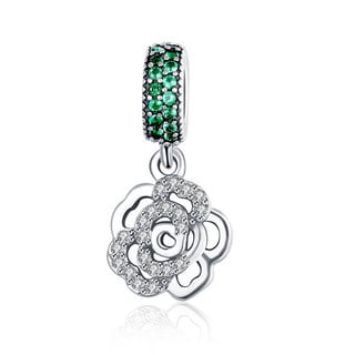 Sterling Silver and Crystals Green Lucky Clover Charm