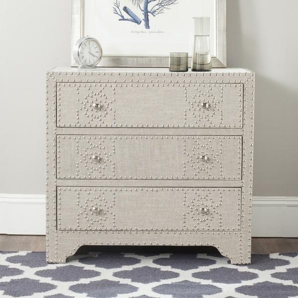 Safavieh Gordy Grey 3-drawer Chest - Silver Nailhead