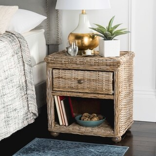 Safavieh Lagos Wicker One Drawer Natural Kubu Grey Nightstand