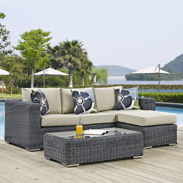 Fabulous Shop Summon 3 Piece Outdoor Patio Sunbrella Sectional Set Ncnpc Chair Design For Home Ncnpcorg