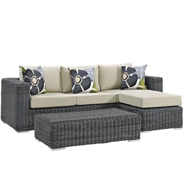 Excellent Shop Summon 3 Piece Outdoor Patio Sunbrella Sectional Set Ncnpc Chair Design For Home Ncnpcorg