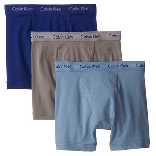 Calvin Klein Underwear Cotton Stretch Boxer Brief 3-Pack - Imperial Blue/Sterling Blue/Grey