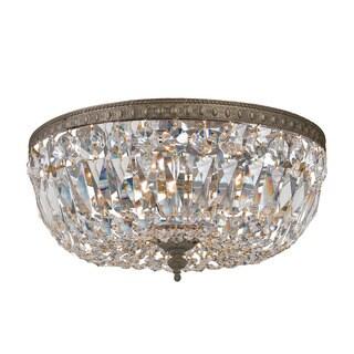 Crystorama Ceiling Mount Collection 3-light English Bronze/Swarovski Elements Spectra Crystal Flush Mount